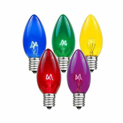 25 Pack C7 Twinkle Outdoor Christmas Replacement Bulbs, C7/E12 Base