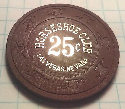 Binion's Horseshoe Casino Obsolete 25 cent BROWN Top Hat and Cane Chip