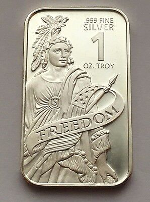 Statue Of Freedom Proof Like 1 Troy Oz .999 Fine Silver Bar