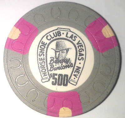 Binions Horseshoe Obsolete $500 horseshoe mold casino chip