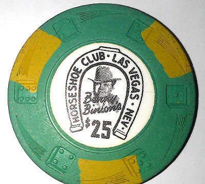 Binions Horseshoe Obsolete $25 Green Gold Dieswirl mold casino chip
