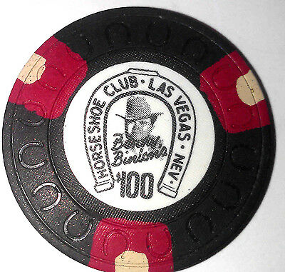 Binions Horseshoe $100 Obsolete Black Red White horseshoemold casino chip