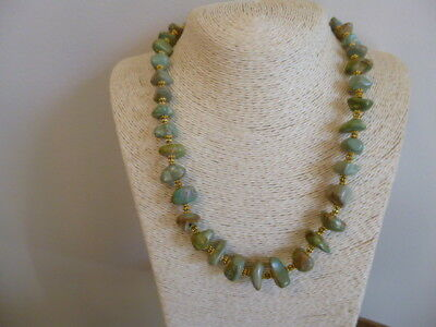 Carico Lake Turquoise Nugget And Gold Native American Navajo Necklace