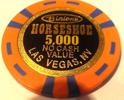 Binions Horseshoe Casino Obsolete $5000 WSOP Orange Blue NCV Poker Chip