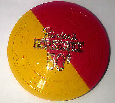 Binion's Horseshoe Casino Obsolete 50 cent Red/Gold Dovetail Hat and Cane Chip