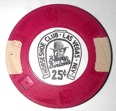 Binions Horseshoe Obsolete 25 cent Red White Dieswirl mold casino chip