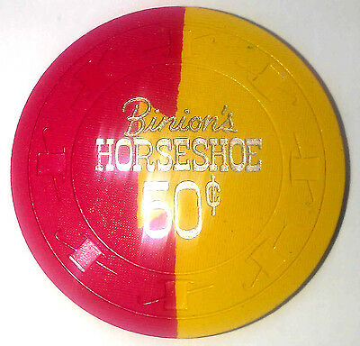 Binion's Horseshoe Casino Obsolete 50 cent Gold/Red Dovetail Hat and Cane Chip