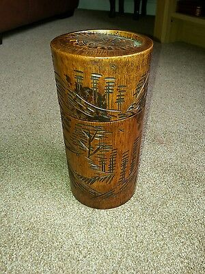 Antique Chinese Brush Pot With Its Own Original Carved Lid