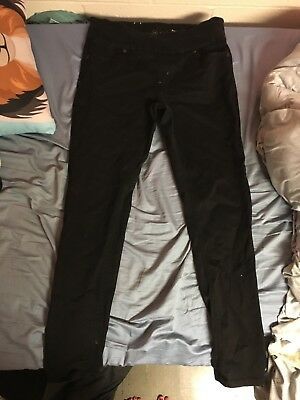 Lola Womens Black Stretch Pull On Skinny Jeans Size 12/32