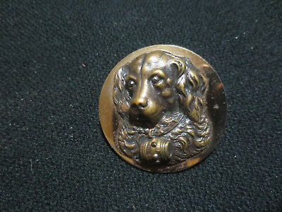 Beautiful  St Bernard/rescue Dog Button-High Relief With Cut Steel Accents Rare