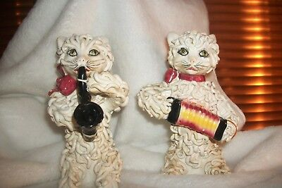 Vintage Spaghetti Style Cats playing instruments made in Italy