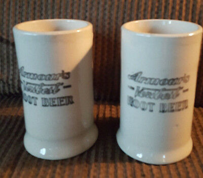 Lot of 2 Vintage ARMOUR'S VERIBEST Root Beer Stoneware Mugs Very Good Condition