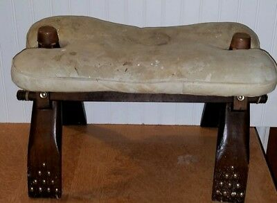 Vintage Egyptian Camel Saddle Wood Stool Chair with Cushion