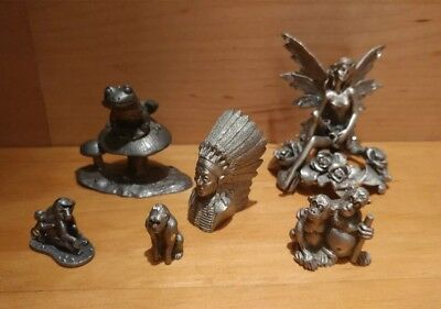 Lot of 7 Miniature Pewter Figurines , FAIRY, FROG, MONKEYS 🐵, INDIAN CHIEF
