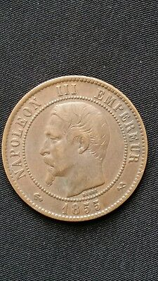 FRANCE 1855 B 5 centimes coin very nice condition (anchor/ hammer & pickaxe)