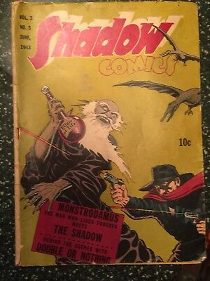 Shadow comics vol 3, #3 cover detached, some writing on