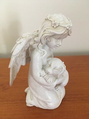 Dog Memorial Statue Ornament - Angel holding Dog - New!
