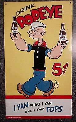 Vintage Drink Popeye Tin Sign Dated 1929 Embossed Soda