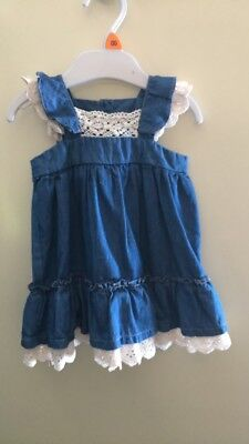 Bebe By Minihaha Baby Girl Embroided Denim Summer Dress 00 6 Months New!!