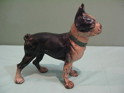 RARE ANTIQUE ICC Co. CAST IRON BOSTON TERRIER FORWARD STARE DOG DOOR STOP