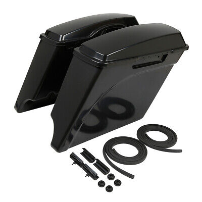 """Unpainted 5"""" Stretched Extended Hard Saddlebags For Harley Touring Models 93-13"""