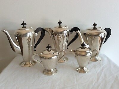 Crusader 1940's Full Five Piece Silver Plate Tea Set