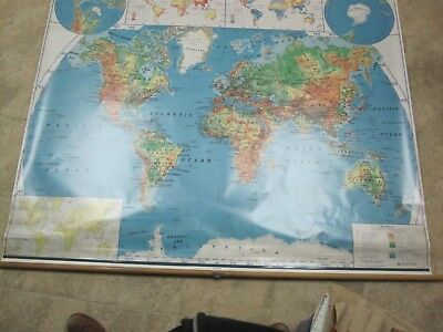 Vintage NYSTROM MAP No. 1SR98 10 WORLD pull down school map
