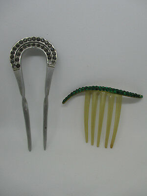 Vintage Art Deco Hair Pins Picks Celluloid Plastic Aluminum Rhinestone Set of 2