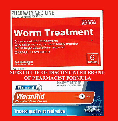 => PHARMACIST FORMULA THREAD WORM RID Tablets = Ver-Mox or Combantrin1 6 tablets