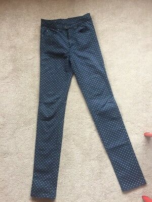 Dr Denim High Waisted Spotted Blue Jeans Size 26/32 Womens