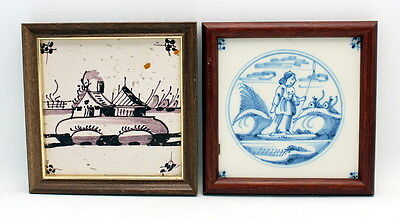 Pair Of Framed Antique 17Th - 18Th Century Dutch Delft Tiles