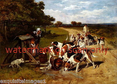 1883 Home From the Hunt~Thirsty Pointer Hound Hunting Dog Dogs~NEW Lg Note Cards