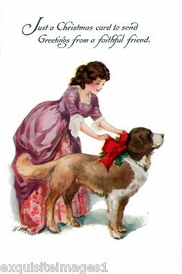 Vintage Art ~Christmas St. Bernard Puppy Dog with Red Bow~NEW Large Note Cards