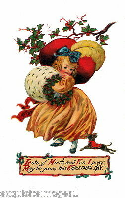 Vintage Art~Christmas Chihuahua Puppy Dog~Woman w Huge Hat & Muff~NEW Note Cards