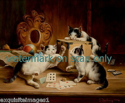 c1900~Kitten Kittens Cat Cats Play with Cards & Dice~NEW Large Note Cards