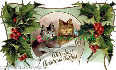 Antique Art~Christmas Kittys,Kittens, Cats~Holly Berries~NEW Large Note Cards