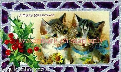 Victorian Christmas Image~ Kitty Cats~Holly~Purple Stained Glass~ NEW Lge Cards