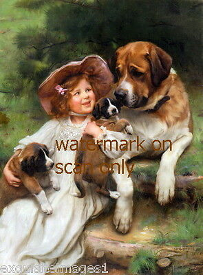 c1901~Sweet Girl with Saint Bernard Dog and Her Puppies~NEW Large Note Cards