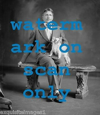 1905 B & W Photo~Man with Papillon Dog on his Lap~NEW Large Note Cards