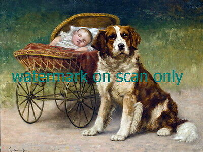 1902~St. Bernard Dog Dogs Guards Baby~Wicker Baby Carriage NEW Lge Note Cards
