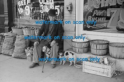 1940 B & W Photo~Man with Papillon Dog & Mixed Dog~Produce Store~NEW Note Cards