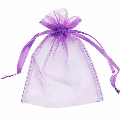 Organza Bag 9x12cm - Purple Pack 200 Sheer Gift Pouch Jewellery Wedding Party Fa