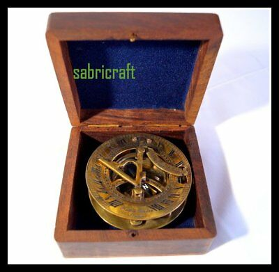 """Nautical Antique 3"""" Vintage Working Brass Sundial Compass W/ Case Old Gift Item"""