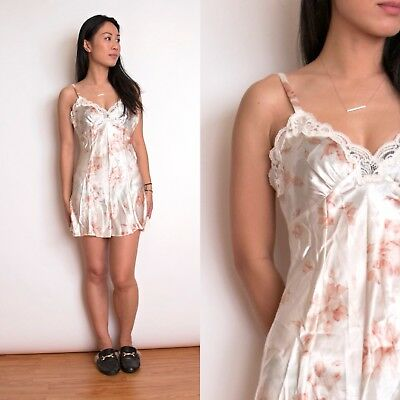 VTG 90s floral lace lingerie romper one piece rose satin size small strappy