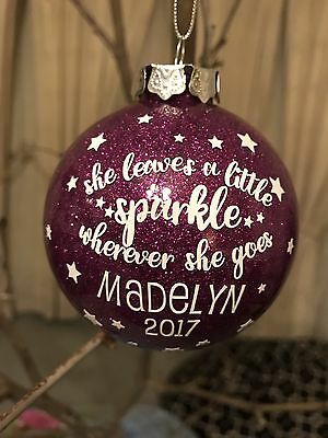 Personalised Christmas Baubles Glitter Baubles Custom Gifts