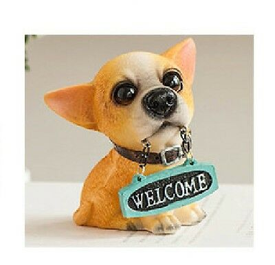 CHIHUAHUA  puppy dog sat resin figure figurine welcome  Us un109