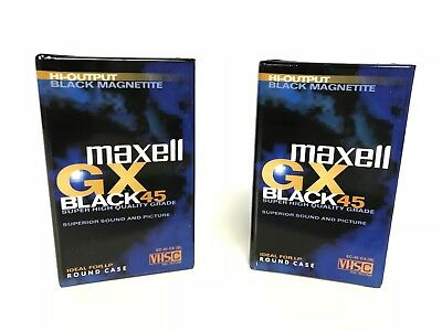 Maxwell GX Black 45 EC-45GX VHS Camcorder Tape Lot x2