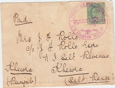 India 1911 First Flight cover Allahabad to Khewra (Punjab) with 1/2a green