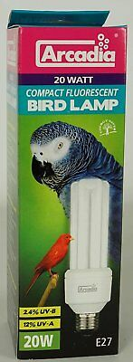 Arcadia FBC20X Bird Lamp, Compact 20W, UV-Lampe für Exoten E27 Birds Cage Light