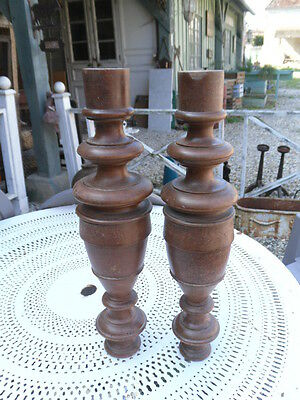 Pair of French Antique walnut Wood Baluster Posts Pillars Architectural Columns
